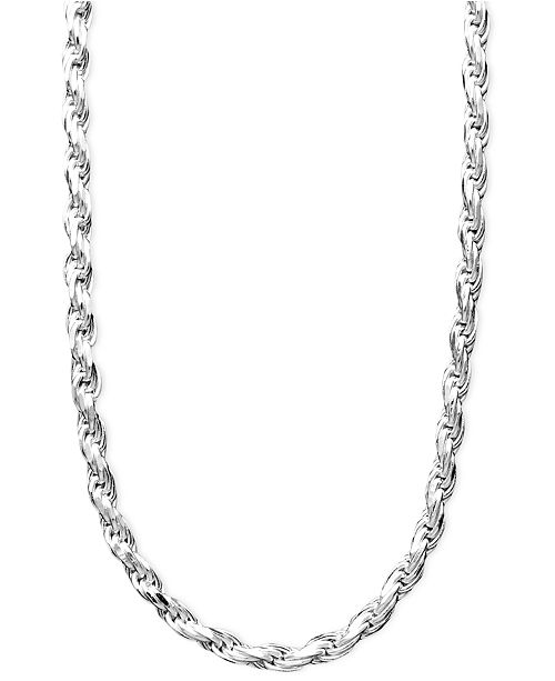 "Giani Bernini Sterling Silver Necklace, 16-24"" Diamond Cut Rope ."