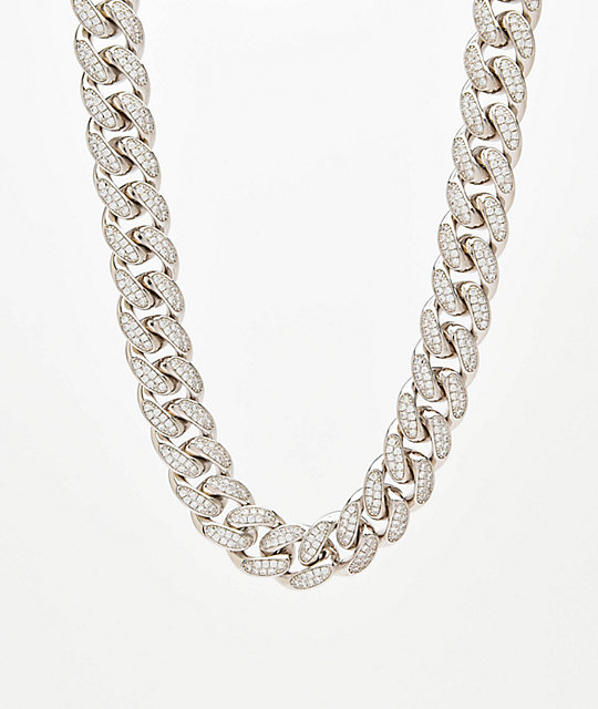 "Saint Midas 18mm CZ Cuban Link 22"" White Gold Chain Necklace 