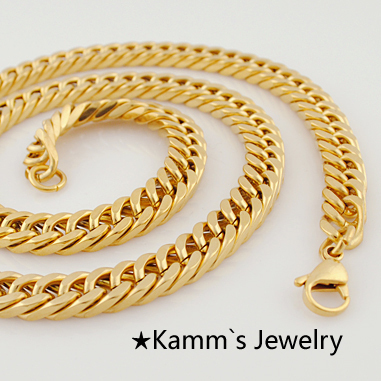 600*8 mm Fashion Simple Design Gold Color Flat Curb Chain Necklace .