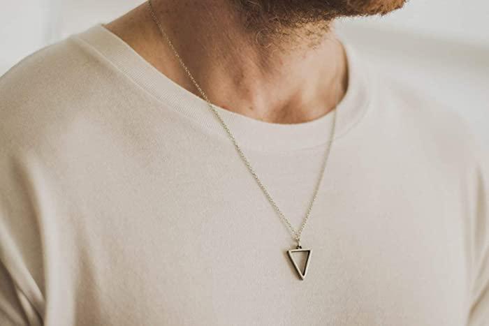 Amazon.com: Triangle necklace for men, groomsmen gift, men's .
