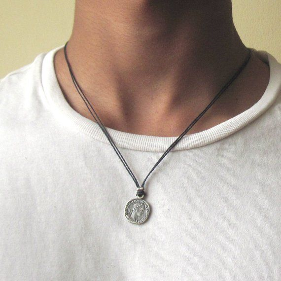 Mens Coin Necklace - Mens Black Necklace - Coin Necklace - Mens .