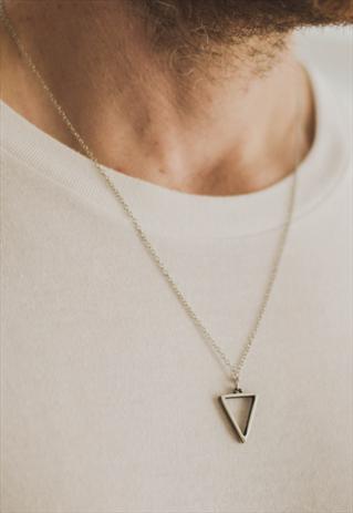 Triangle chain necklace for men silver geometric pendant him | Men .