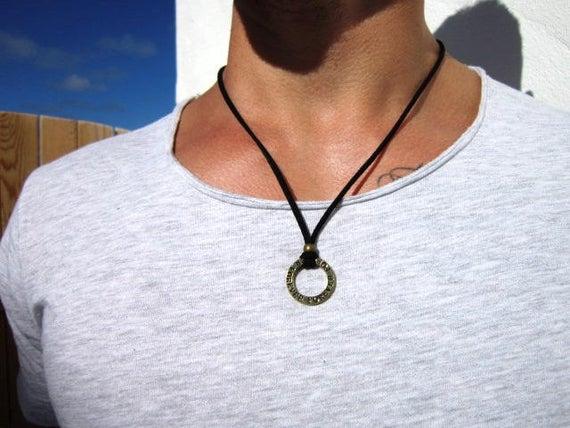 Gifts for men pendant mens necklace brass pendant necklace | Et