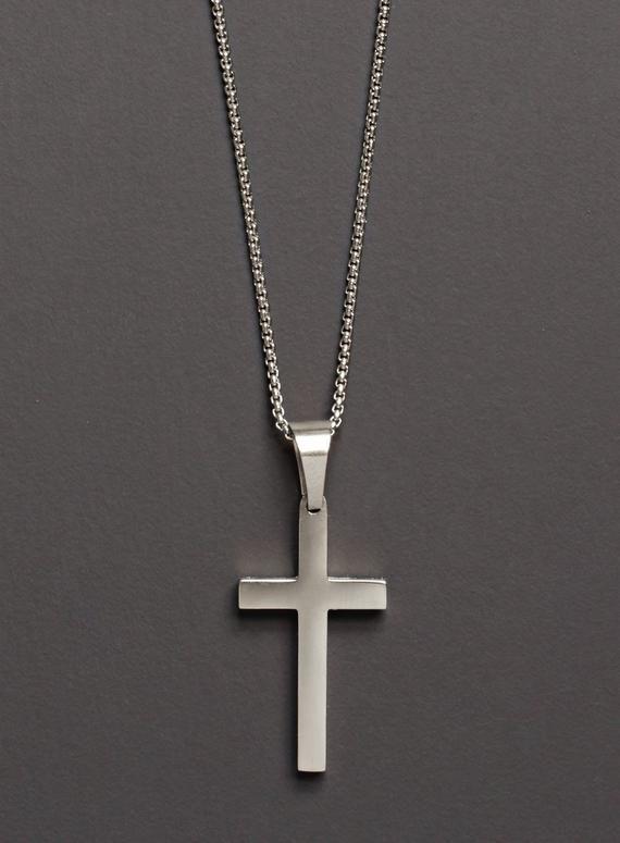 Men's Silver Cross / Cross Necklace for Men / Silver Cross Pendant .