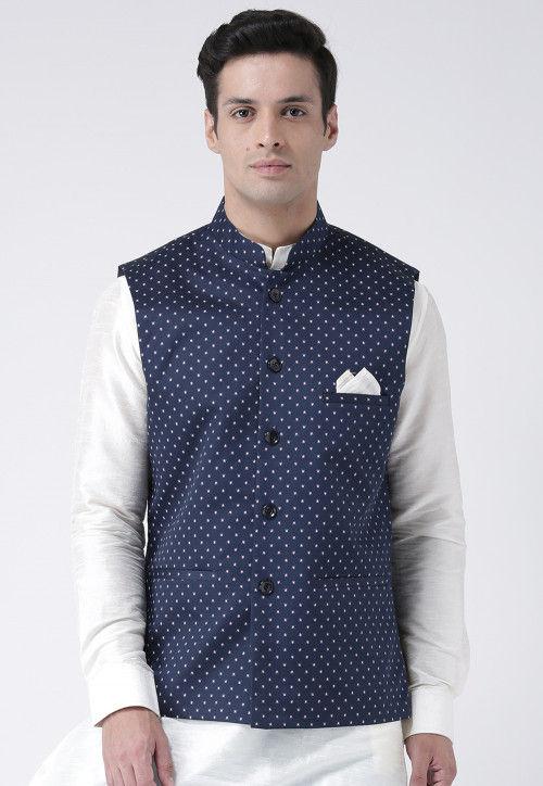 Printed Cotton Linen Nehru Jacket in Navy Blue : MHT2