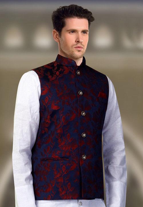 Printed Art Silk Nehru Jacket in Royal Blue : MHG11