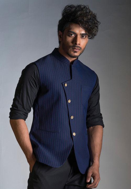 Stripe Printed Jute Cotton Nehru Jacket in Navy Blue : MJ