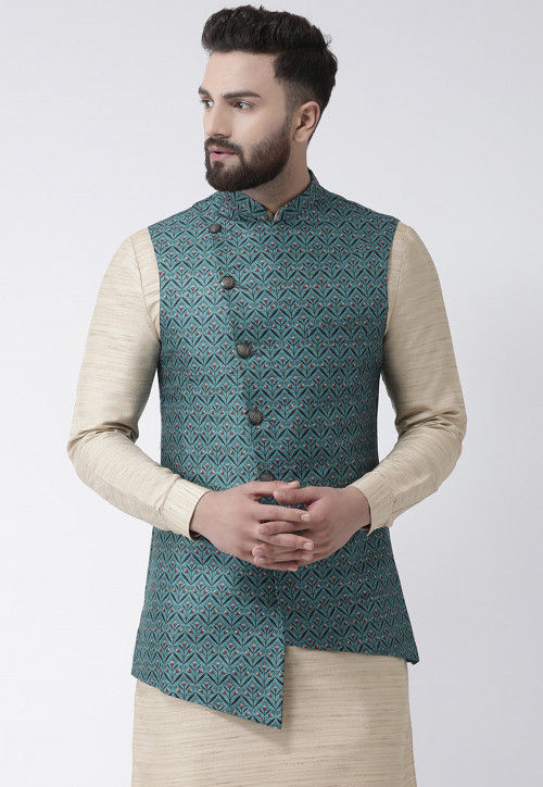 Digital Printed Cotton Linen Asymmetric Nehru Jacket in Dusty Blue .