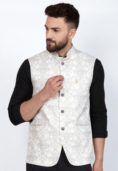 Printed Cotton Silk Nehru Jacket in White : MEJ