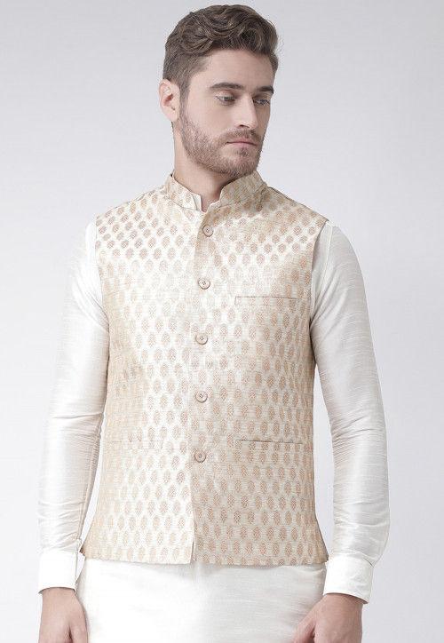 Woven Art Silk Jacquard Nehru Jacket in Cream : MHT2