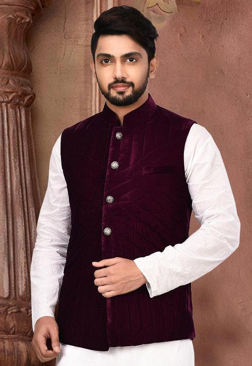 Quilted Velvet Nehru Jacket in Purple : MTX7