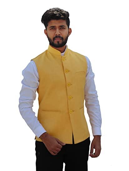 Buy Badoliya & Sons Nehru Jacket for Men's (Yellow) (46) at Amazon.