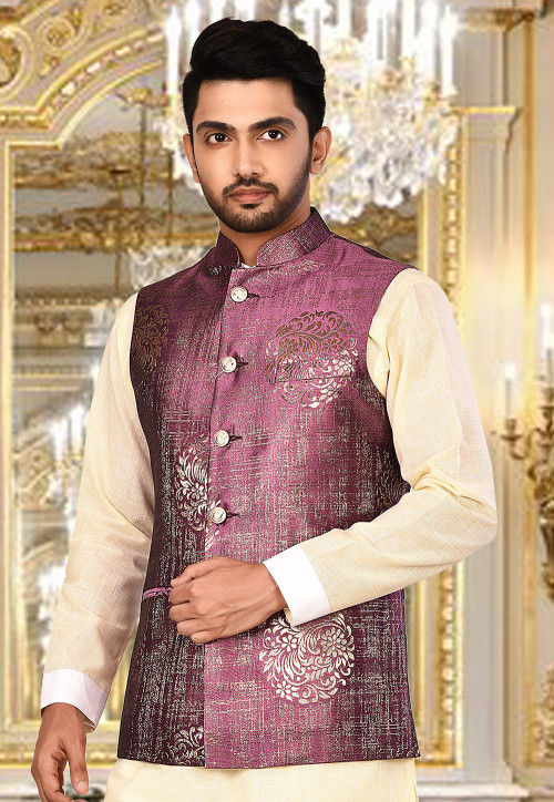 Plain Art Silk Jacquard Nehru Jacket in Purple : MTX7