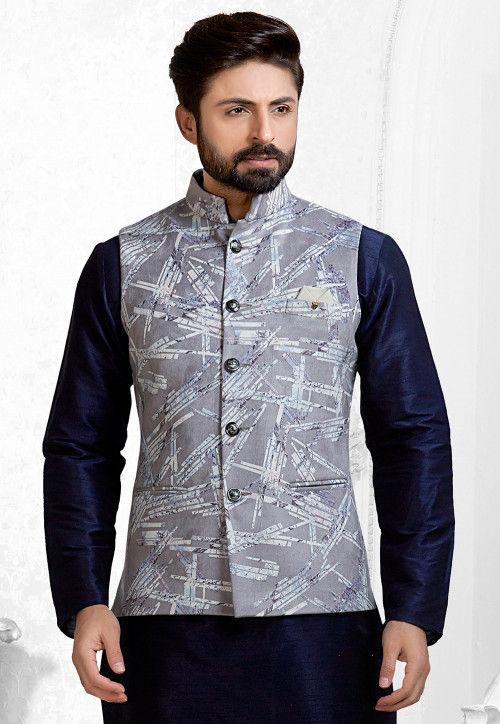 Digital Printed Velvet Nehru Jacket in Grey : MHG9