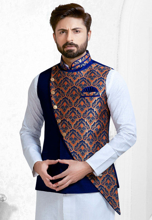 Woven Art Silk Nehru Jacket in Royal Blue and Multicolor : MHG9