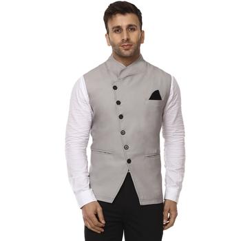 Grey plain cotton poly nehru-jacket - Veera Paridhaan - 28028
