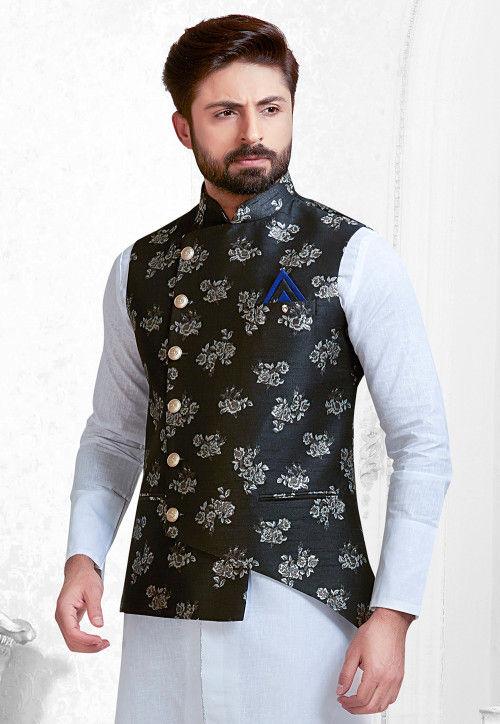 Woven Art Silk Jacquard Asymmetric Nehru Jacket in Black : MHG9