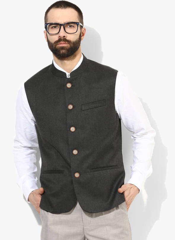 Buy Arrow Charcoal Solid Nehru Jacket Online - 8818109 - Jabo