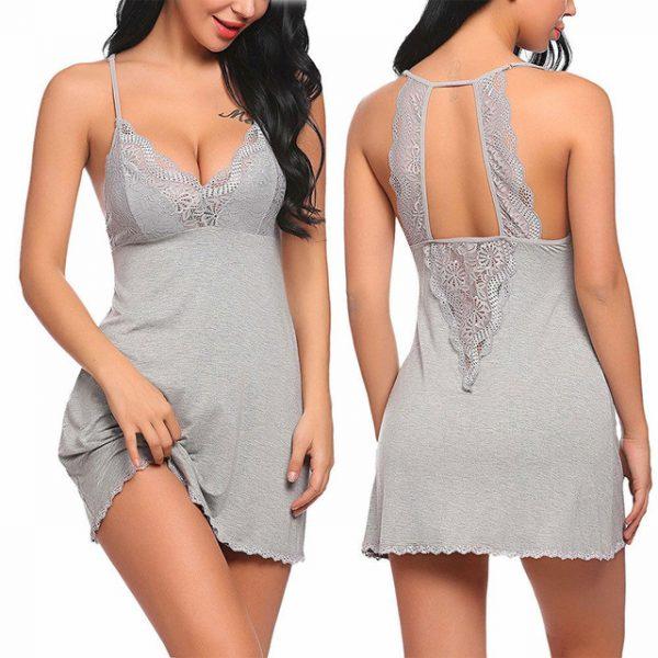 Women Sexy Lingerie Lace Sleepwear Nightdress Straps Deep V Neck .
