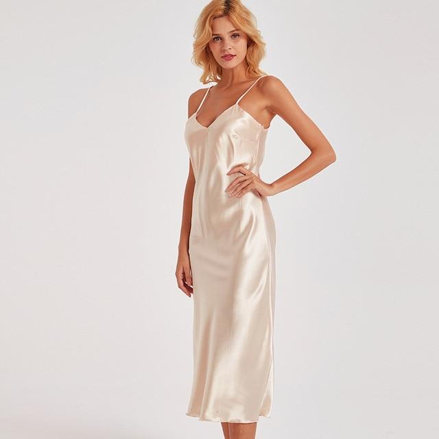 Sexy Women Nightgown Long Night Dress Artificial Silk Stain Deep-V .