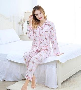 Lady Pajamas Night Dress Sleepwear With Printing In 100% Cotton .