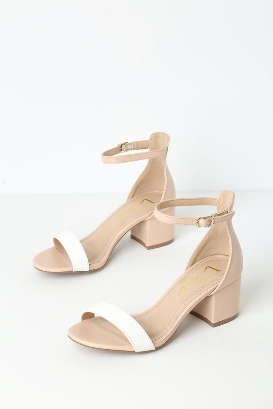 Lulus Harper Color Block - Nude and White Heels - Vegan Hee