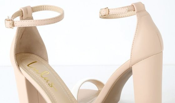 Cute Nude and White Heels - Ankle Strap Heels - Color Block Hee