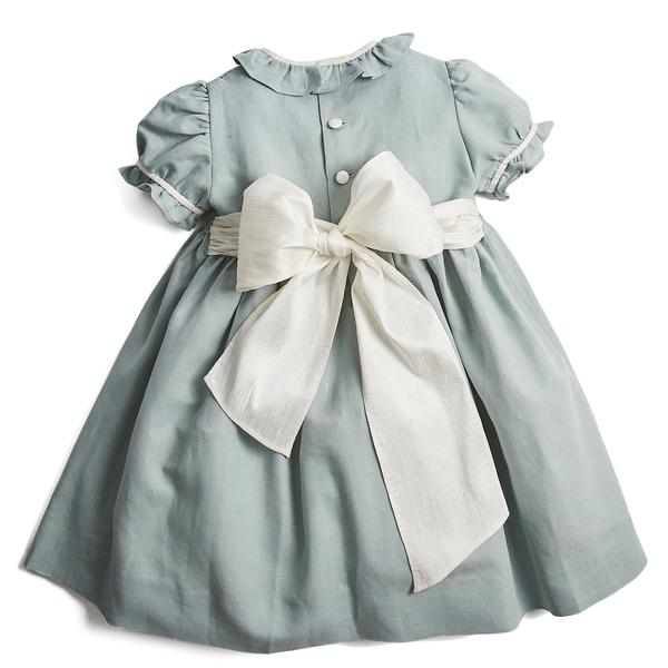 Teal Flower Girl Occasion Dress with Ivory Handsmocking – PEPA AND