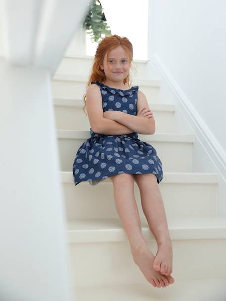 Occasion Wear Dress with Fancy Dots, for Girls - blue dark all over .