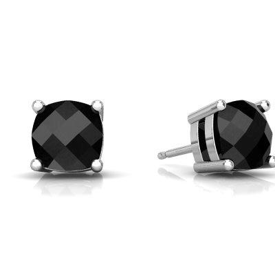 Black Onyx Checkerboard Cushion Stud earrings E1796-WON