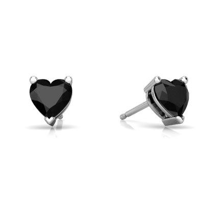 Black Onyx Heart Stud earrings E1861-WON