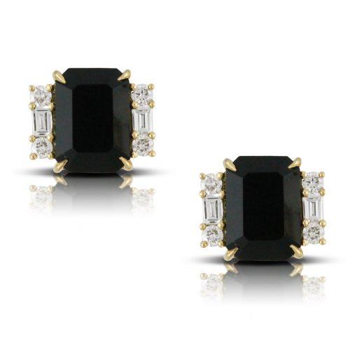 Gatsby Prong Set Emerald Cut Black Onyx Earrings $1805.