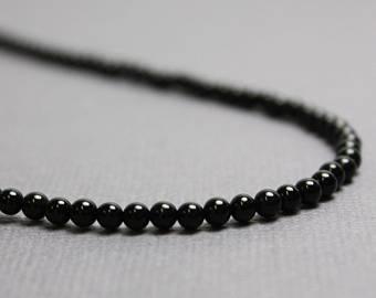 Onyx Necklace 3mm Black Onyx Necklace Black Necklace Onyx | Et