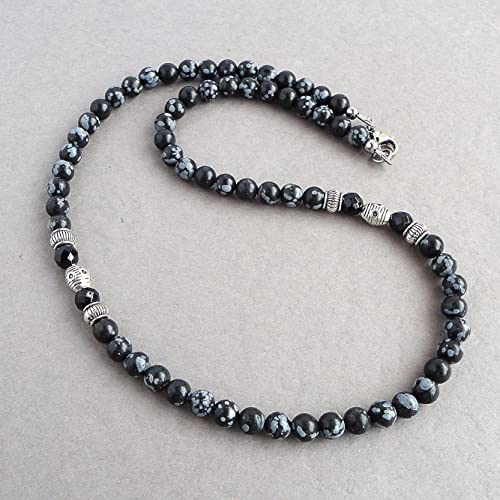 Amazon.com: Snowflake Obsidian and Black Onyx 6mm Stone Necklace .