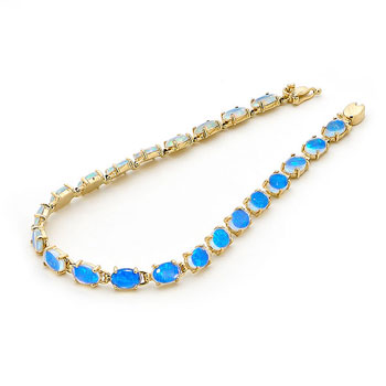 OAB5592 - 14k Yellow Gold Solid Light Opal Bracelet - Opals .