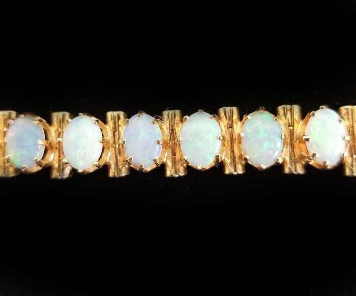 14k Yellow Gold Fine Opal Bracelet - Village Goldsmith Antiques .