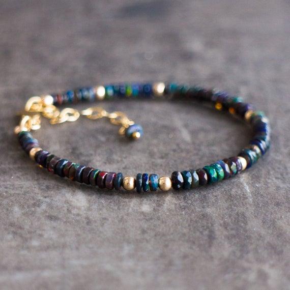 Black Opal Bracelet Black Fire Opal Welo Opal Bracelet   Et