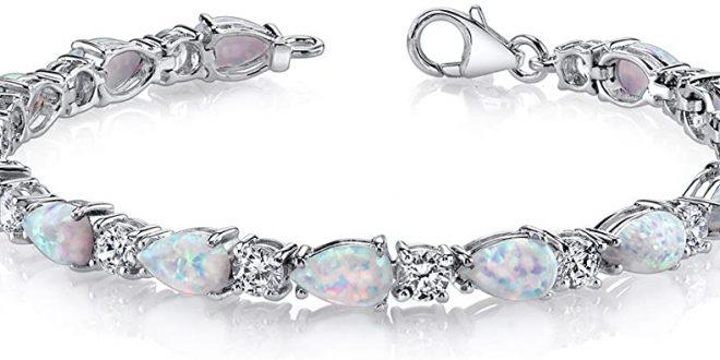 Amazon.com: Peora Created Opal Bracelet Sterling Silver Tear Drop .