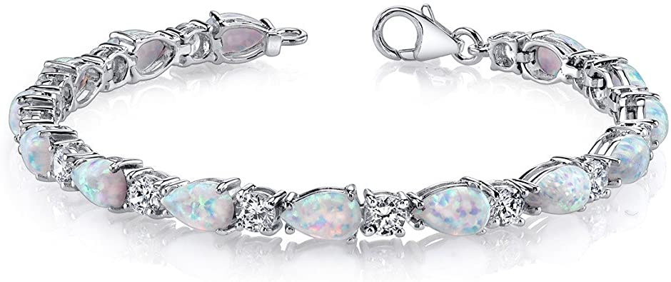 Amazon.com: Peora Created Opal Bracelet Sterling Silver Tear Drop .