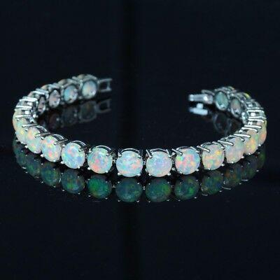 White Fire Opal Bracelet Round Sterling Silver Precious .