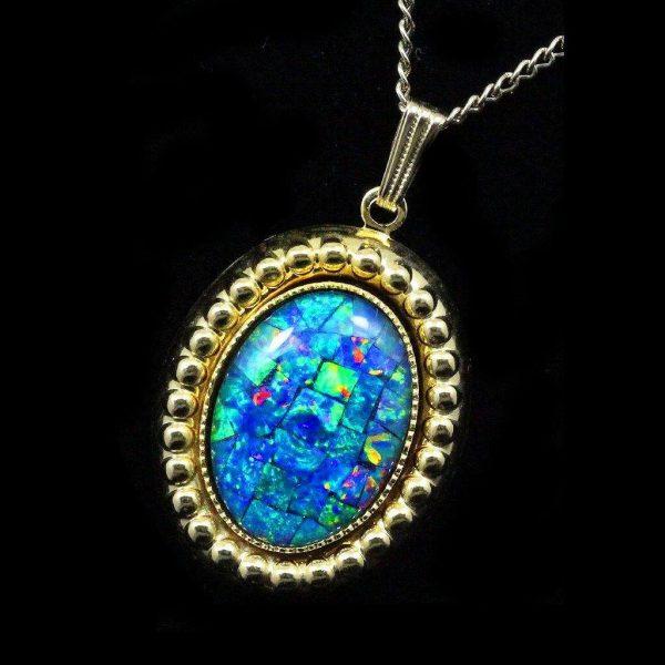 Mosaic Opal Pendant 4084 - Opal Jewelry - Opal Pendants, Opal .