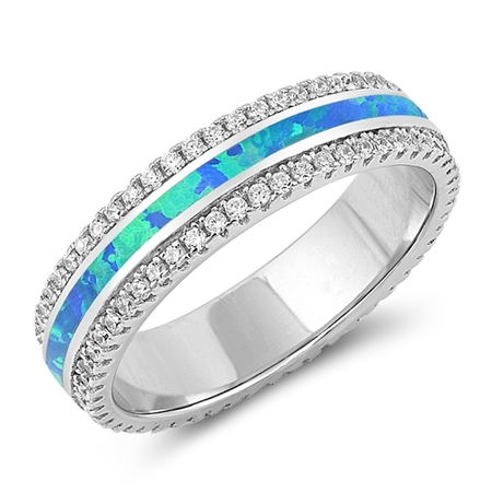 5mm Sterling silver Blue Lab Opal Promise Ring With CZ .