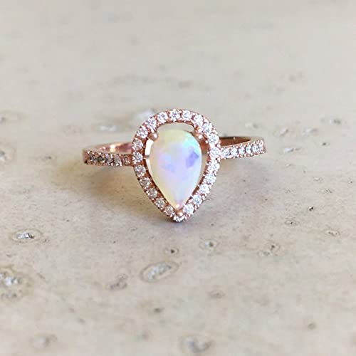 Amazon.com: Rose Gold Opal Engagement Ring- Halo Pear Shape Opal .
