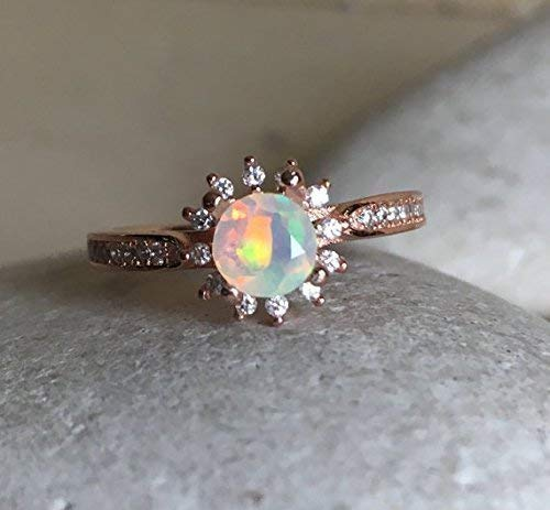 Amazon.com: Opal Rose Gold Ring- Opal Engagement Ring- Halo Opal .