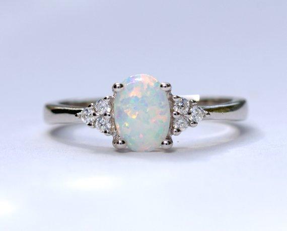 White Opal Ring White Fire Opal Ring Oval Opal Ring Promise | Et