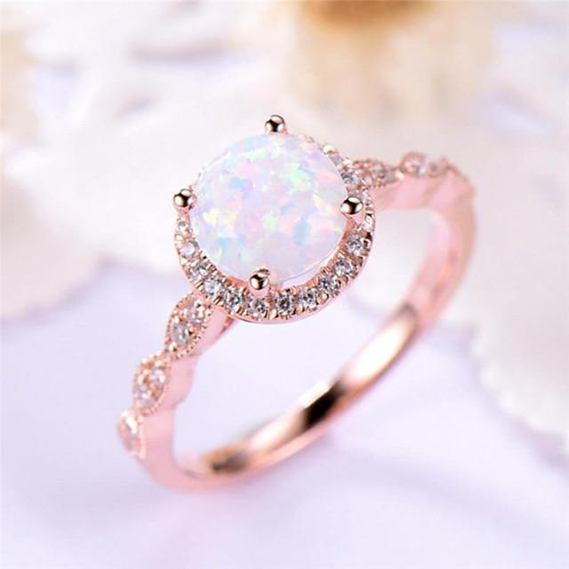 Rose Gold Opal Enchantment Promise Ring | Heritage Pink Boutiq
