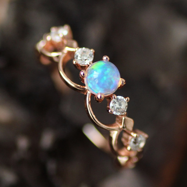 Fancy Rose Gold Plated Art Deco Opal Promise Ring [100695 .
