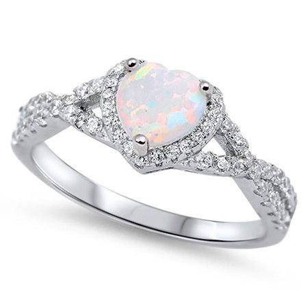Sac Silver - CHOOSE YOUR COLOR Heart White Simulated Opal Halo .