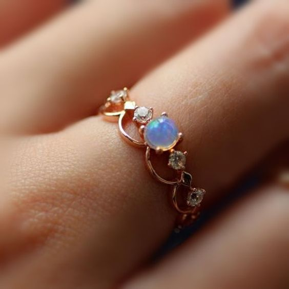 Fancy Rose Gold Plated Art Deco Opal Promise Ring | Jewellery .