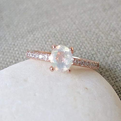 Amazon.com: 4 Prong Opal Ring- Opal Promise Ring- Rose Gold Opal .